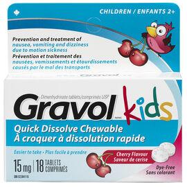 Gravol Kids Quick Dissolve Chewable Dye-Free - Cherry - 18's