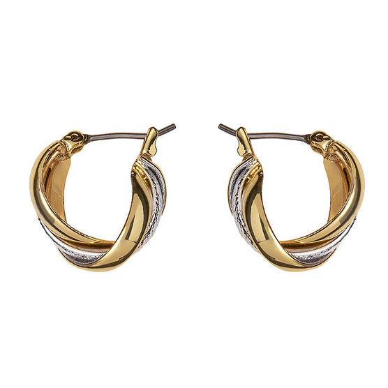 Anne Klein Small Twist Hoop Earrings - Gold/Silver