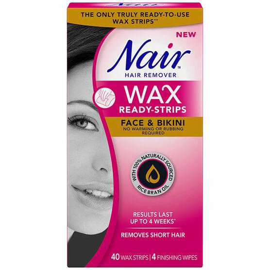 Nair Hair Remover Wax Ready Strips - Face & Bikini - 40's/4s