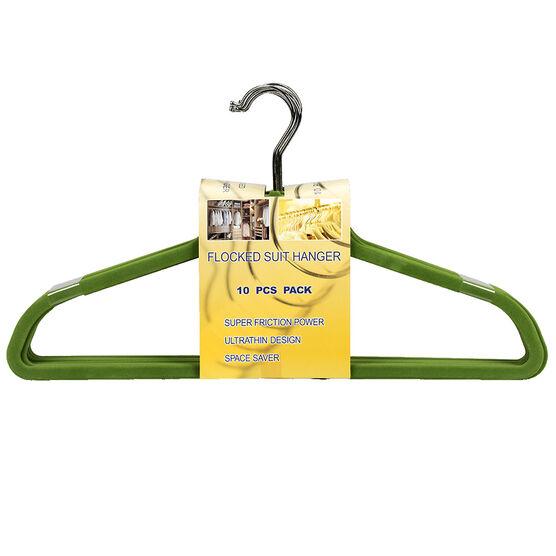 London Drugs Flocked Suit Hangers - Green - 10 pack