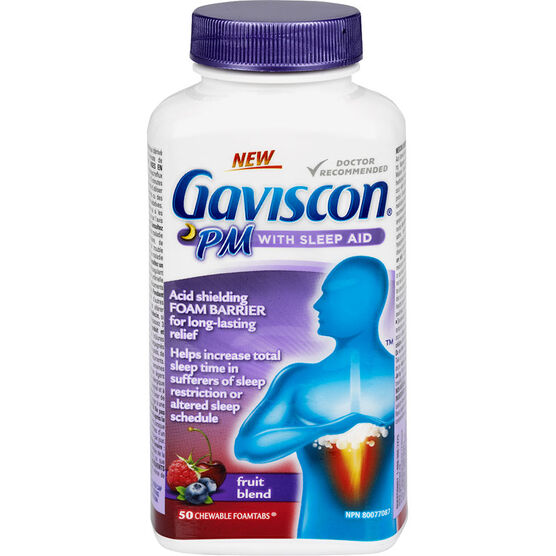 Gaviscon PM with Sleep Aid Chewable Foamtabs - Fruit Blend - 50's