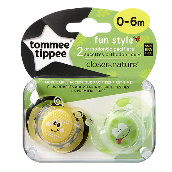 Tommee Tippee Closer to Nature Fun Style Pacifier - 0-6 Months - 2 pack - Assorted