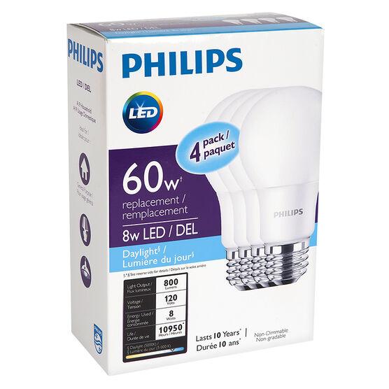 Philips Basic D/Lite A19 LE - Daylight - 8W/4pk
