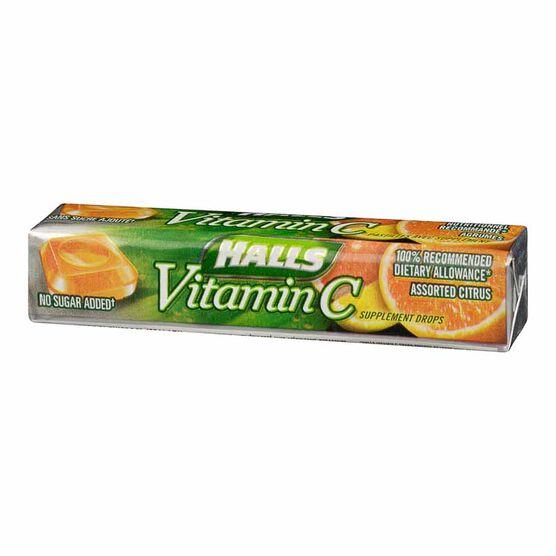 Halls Vitamin C Sucrose Free - Assorted Citrus - 9 tablets