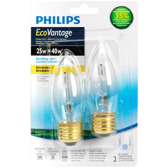 Philips EcoVantage B10/25W Chandelier Bulbs - Clear - 2 pack
