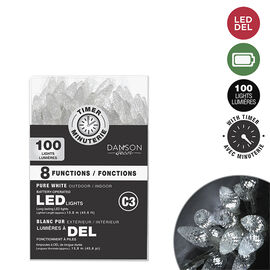 Danson C3 Battery-Operated Light String with Timer - 100 lights - White - X99375