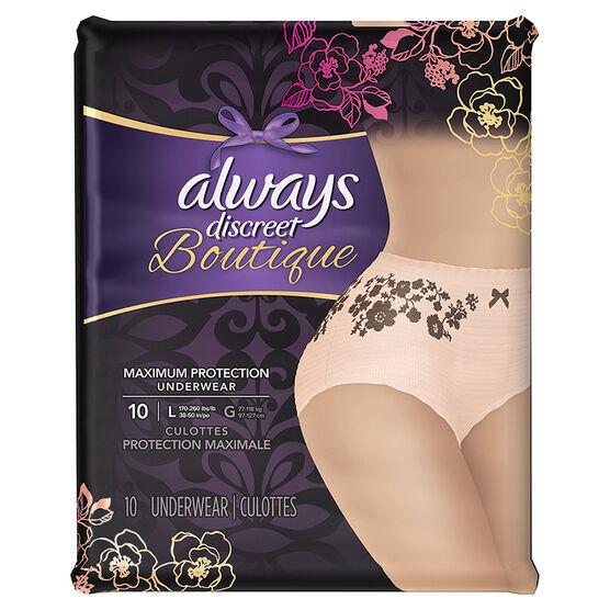 Always Discreet Boutique Maximum Protection Underwear - Large - 10's
