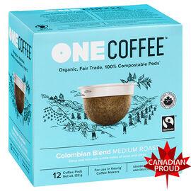 One Coffee Organic Single Serve Pods - Medium Roast Colombian Blend - 12's