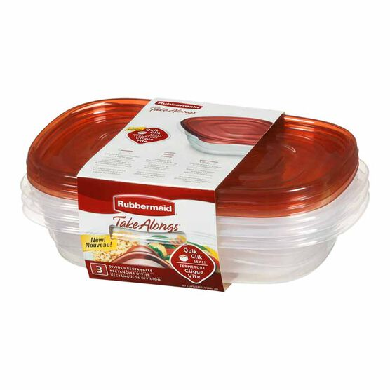 Rubbermaid TakeAlongs Divided Rectangle Container - 887ml