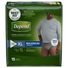 Depend Fit-Flex Underwear for Men Maximum Absorbency - XL - 15's