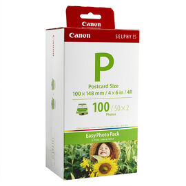 Canon E-P100 Ink Photo Pack with 4 x 6 inch Paper - 100 Sheets