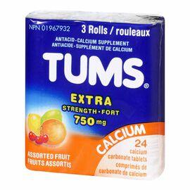 TUMS Extra Strength 750 Fruit Antacids - 3 Pack