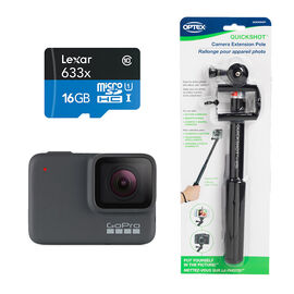 GoPro Hero 7 Silver with Optex Quickshot Action Pole and Lexar 16GB MicroSD Card Bundle - PKG# 49331