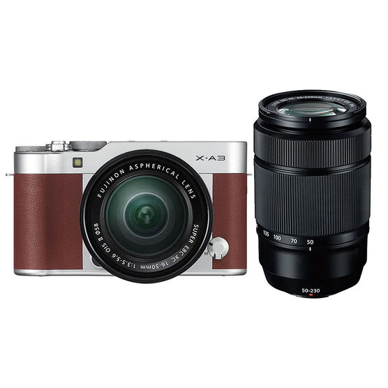 Fuji X-A3 Brown with 16-50mm and 50-230mm OIS II Black Lens - PKG #24759