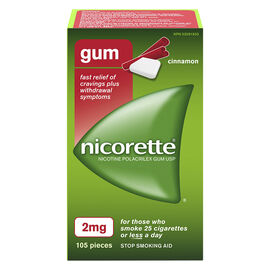 Nicorette Nicotine Gum Stop Smoking Aid - Cinnamon - 2mg - 105's