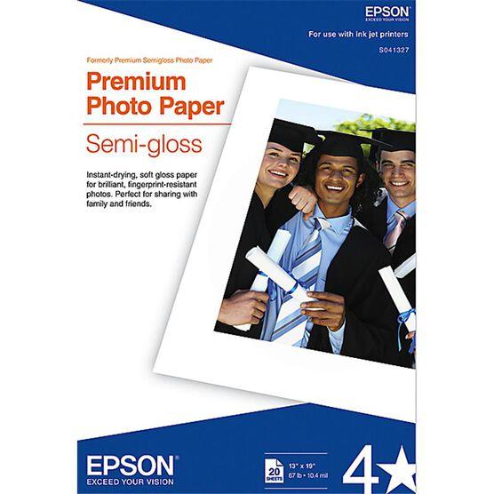 Epson Premium Photo Paper - Semi-gloss - 20 sheets - 13 x 19-inch - S041327