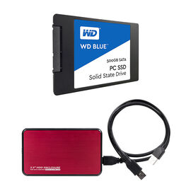 WD Blue 500GB Solid State Drive with Red Certified Data 2.5 HDD Case - PKG #13810