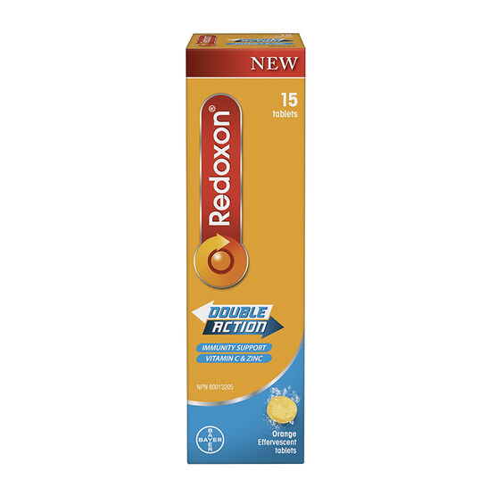 Redoxon Double Action Vitamin C and Zinc Orange Effervescent Tablets - 15's