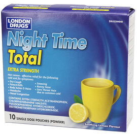 London Drugs Night Time Total Hot Liquid Medicine - Extra Strength - 10's