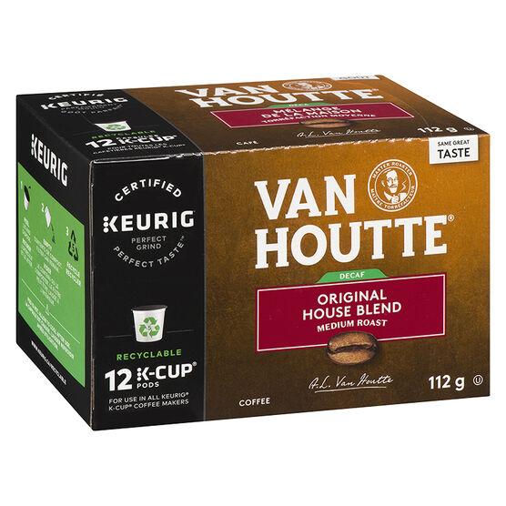 K-Cup Van Houtte Decaffeinated Medium Roast Coffee - Original House Blend - 12 Servings