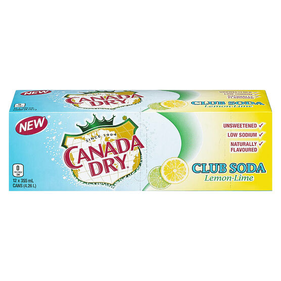 Canada Dry Sparkling Seltzer Water - Lemon Lime - 12 pack