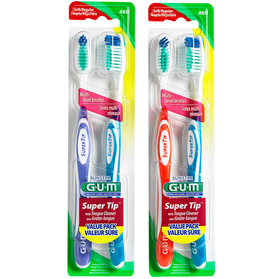 G.U.M. Super Tip Toothbrush with Tongue Cleaner - Soft Bristles Regular Head - 2's