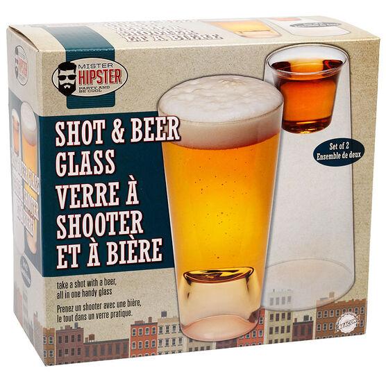 Mister Hipster Shot & Beer Glass
