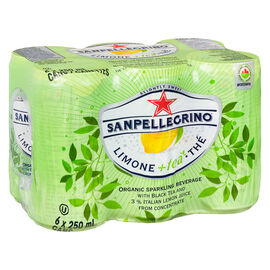 San Pellegrino Organic Sparkling Beverage - Lemon and Black Tea - 6x250ml