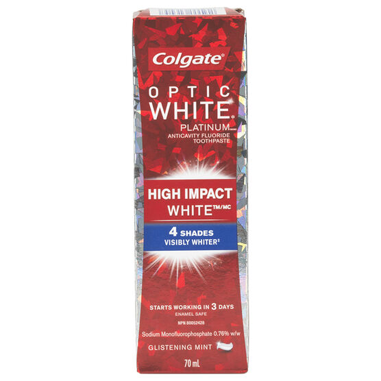 Colgate Optic White Platinum Toothpaste - High Impact White - Glistening Mint - 70 ml