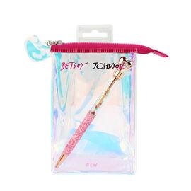 Betsey Johnson Heart Glitter Pen - Pink & Gold