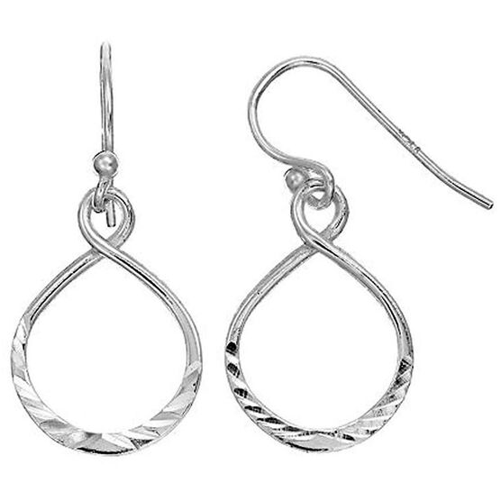 UNWRITTEN Sterling Silver Diamond-Cut Infinity Earrings