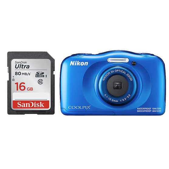 Nikon Coolpix W100 Blue with SanDisk Ultra 16GB SDHC Memory Card - PKG #89741