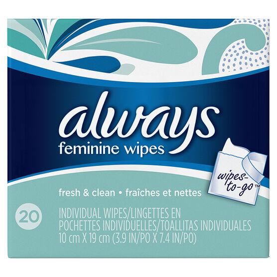 Always Feminine Individual Wipes - Fresh & Clean - 20's