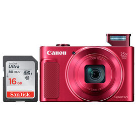 Canon Powershot SX620 HS with SanDisk Ultra 16GB SDHC Memory Card - Red - PKG #13762