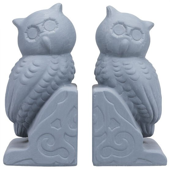 London Drugs Earthenware Bookends -  Blue - Log and Owl
