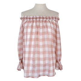 Lava Long-sleeved Off Shoulder Blouse - Blush