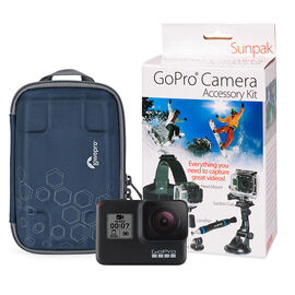 GoPro HERO7 Black with Sunpak Action Camera Kit and Lowepro Bag Bundle - PKG #97133