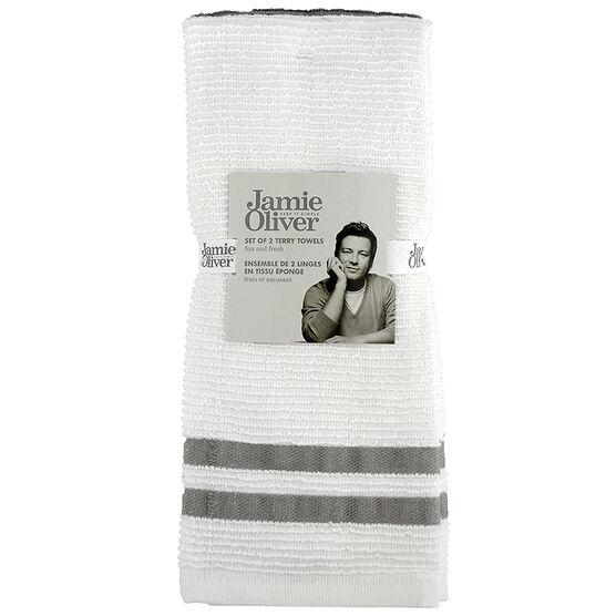 Jamie Oliver Ribbed Terry Towel - Grey - 2 pack