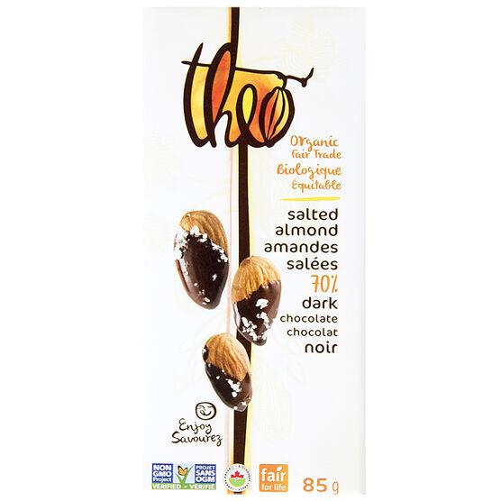 Theo Organic Chocolate Bar - Salted Almonds 70% Dark - 85g