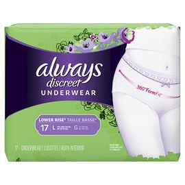Always Discreet Underwear Lower Rise - Large - 17's
