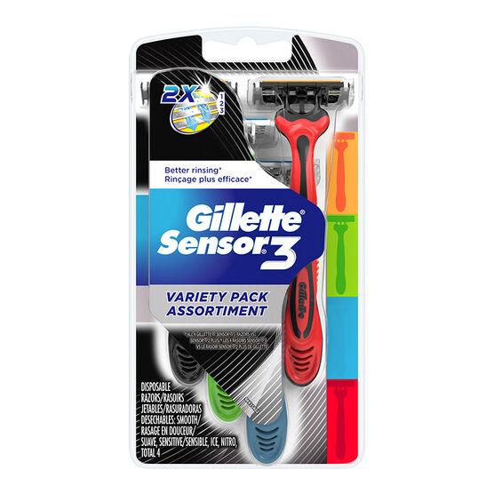 Gillette Sensor3 Variety Pack Disposable Razors - 4's