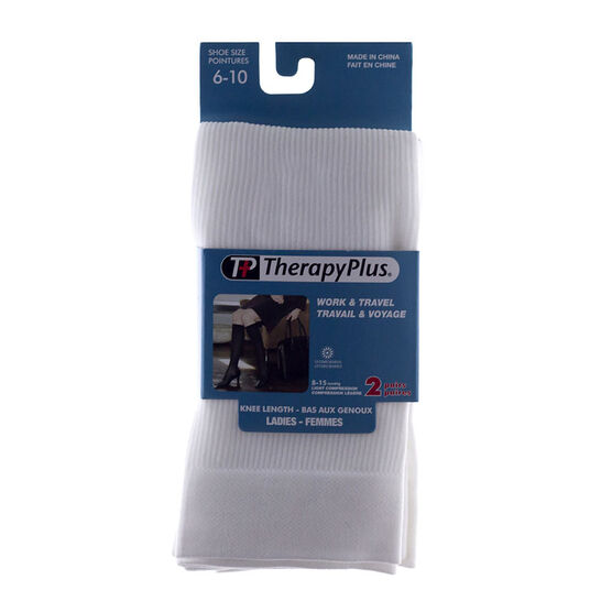 Therapy Plus Ladies Knee High Socks - White - 2 Pair -  Size 6 to 10