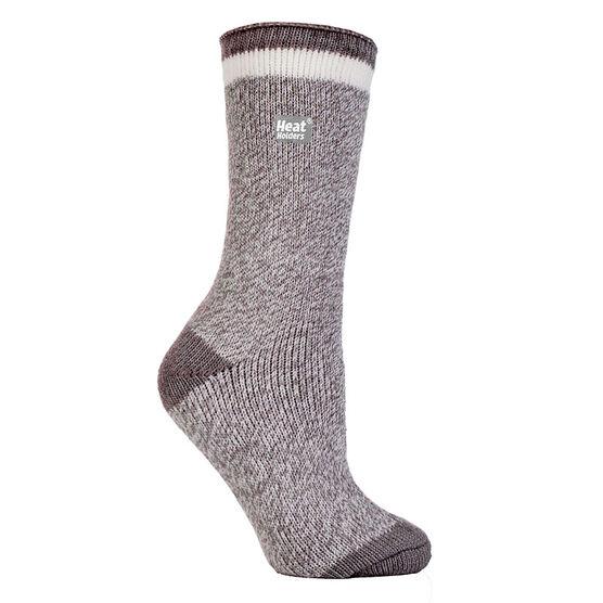 Heat Holders Ladies Twist Crew Sock - Soft Grey/Cream