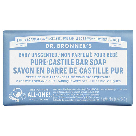 Dr. Bronner's Hemp Pure-Castile Bar Soap - Unscented Baby-Mild - 140g