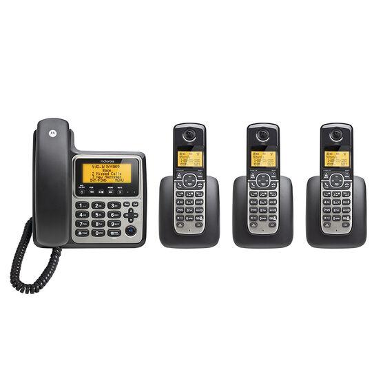 Motorola 4-Handset Corded/Cordless Phone - Black/Silver - M804C