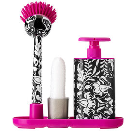 Vigar Damask Sink Set/Dispenser - Pink/Black