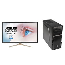 Certified Data Ryzen 5 2400G Desktop with Asus VA327H 31.5inch Curved Monitor - PKG #13819