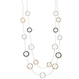 Nine West 16-inch 2 Row Necklace - Tri-Tone