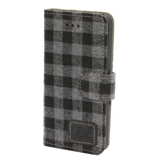 Roots 73 Plaid Folio Case for iPhone SE - Grey/Black - RPLDIP5G