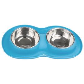 Conair Pet Large Food Bowls - Chrome/Blue